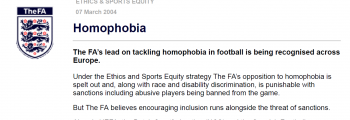 "FIRST: English FA commitment to ""lead"" Europe in ending homophobia"