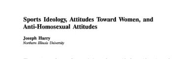 FIRST: Statistical research on homophobia and sexism in sport